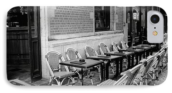 Brussels Cafe In Black And White Phone Case by Carol Groenen
