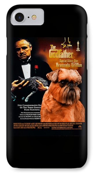 Brussels Griffon Art Canvas Print - The Godfather Movie Poster IPhone Case by Sandra Sij