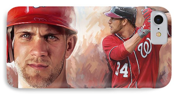 Bryce Harper Artwork IPhone Case by Sheraz A