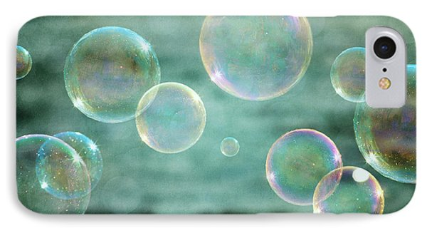 Bubbles In Teal And Pink IPhone Case by Lisa Russo
