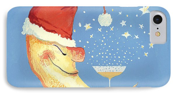 Bubbly Christmas Moon Phone Case by David Cooke