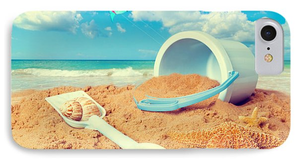 Bucket And Spade On Beach Phone Case by Amanda Elwell