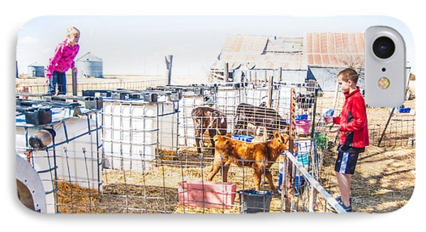 IPhone Case featuring the photograph Bucket Calfs by Shirley Heier