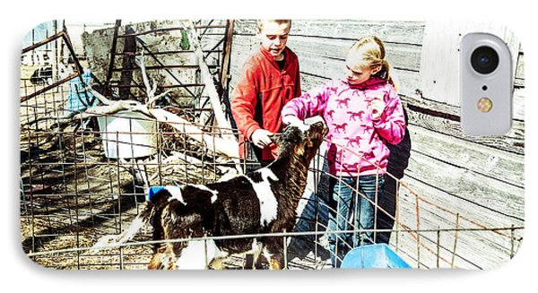 IPhone Case featuring the photograph Bucket Calves And Kids by Shirley Heier
