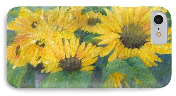 Bucket Of Sunflowers Colorful Original Painting Sunflowers Sunflower Art K. Joann Russell Artist IPhone Case