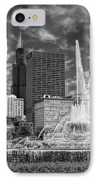 Buckingham Fountain Sears Tower Black And White IPhone Case by Christopher Arndt