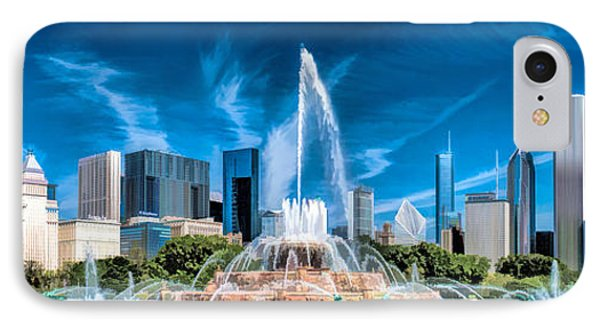 Buckingham Fountain Skyline Panorama IPhone Case by Christopher Arndt