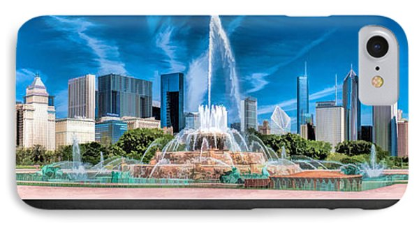 Buckingham Fountain Skyline Panorama Poster IPhone Case by Christopher Arndt