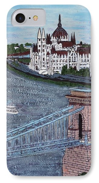 IPhone Case featuring the painting Budapest Bridge by Jasna Gopic