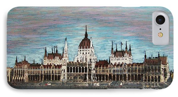IPhone Case featuring the painting Budapest Parliament By Jasna Gopic by Jasna Gopic