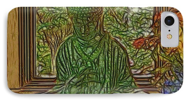 Buddha In Window With Blue Vase IPhone Case by Larry Capra