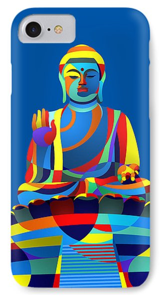 IPhone Case featuring the digital art Buddha Blue by Randall Henrie