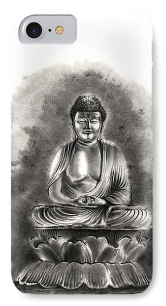 Buddha Buddhist Sumi-e Tibetan Calligraphy Original Ink Painting Artwork IPhone Case by Mariusz Szmerdt