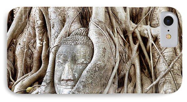 Buddha Head In Tree Wat Mahathat Ayutthaya  Thailand Phone Case by Fototrav Print