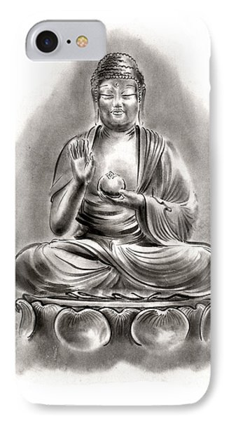 Buddha Medicine Buddhist Sumi-e Tibetan Calligraphy Original Ink Painting Artwork IPhone Case by Mariusz Szmerdt