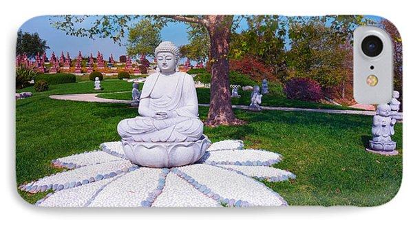 IPhone Case featuring the photograph Buddha Statue - Buddhist Columbarium Rose Hills Memorial Park Whittier California by Ram Vasudev