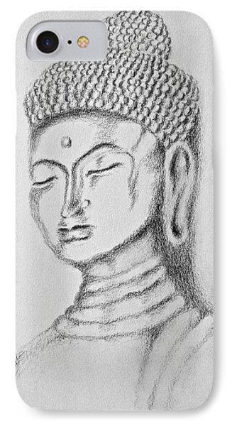 IPhone Case featuring the drawing Buddha Study by Victoria Lakes