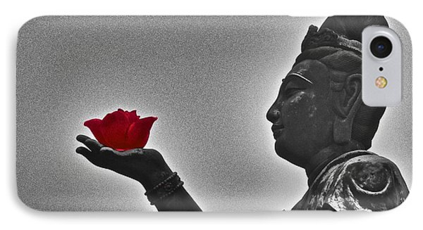 IPhone Case featuring the photograph Buddha With Rose  by Sarah Mullin