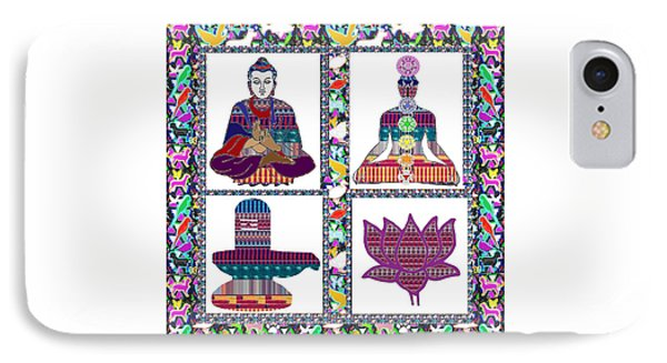 Buddha Yoga Chakra Lotus Shivalinga Meditation Navin Joshi Rights Managed Images Graphic Design Is A IPhone Case by Navin Joshi