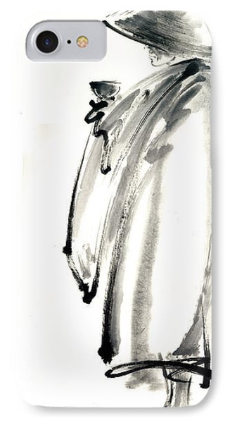 Buddhist Monk With A Bowl Zen Calligraphy Original Ink Painting Artwork IPhone Case by Mariusz Szmerdt