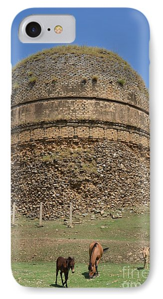 Buddhist Religious Stupa Horse And Mules Swat Valley Pakistan IPhone Case