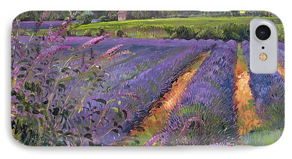 Buddleia And Lavender Field Montclus Phone Case by Timothy Easton