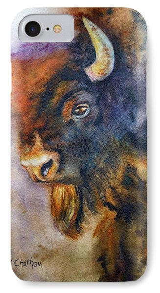 IPhone Case featuring the painting Buffalo Business by Karen Kennedy Chatham