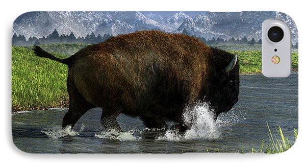 Buffalo Crossing A River IPhone Case