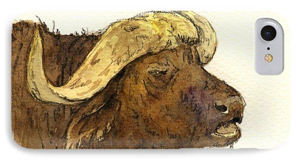 Buffalo Head IPhone Case by Juan  Bosco