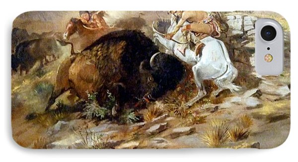 Buffalo Hunt IPhone Case by Charles Russell