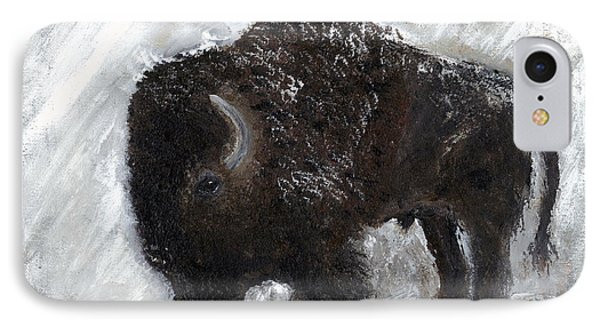 IPhone Case featuring the painting Buffalo In The Snow by Barbie Batson