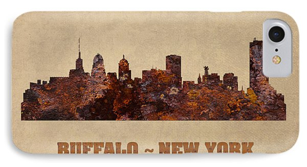 Buffalo New York City Skyline Rusty Metal Shape On Canvas IPhone Case