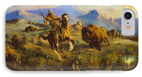 Buffalo Hunt IPhone Case by Edgar Samuel Paxson