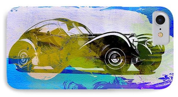 Bugatti Atlantic Watercolor 2 IPhone Case by Naxart Studio