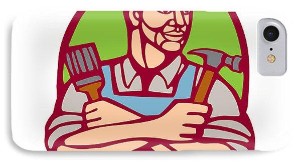 Builder Carpenter Paintbrush Hammer Linocut IPhone Case by Aloysius Patrimonio