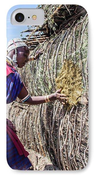 Building A Maasai Hut IPhone Case