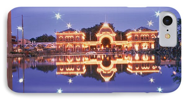 Buildings In An Amusement Park Lit IPhone Case by Panoramic Images
