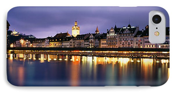 Buildings Lit Up At Dusk, Chapel IPhone Case by Panoramic Images