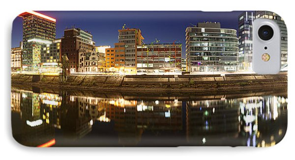 Buildings Lit Up At Dusk, Colorium IPhone Case by Panoramic Images