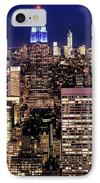 Buildings Lit Up At Dusk, Empire State IPhone Case by Panoramic Images
