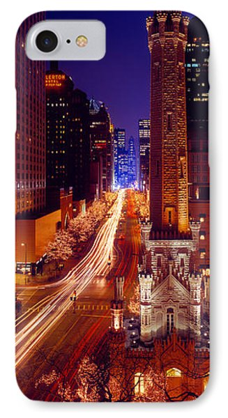 Buildings Lit Up At Night, Water Tower IPhone Case by Panoramic Images