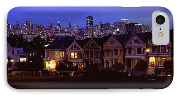 Buildings Lit Up Dusk, Alamo Square IPhone Case