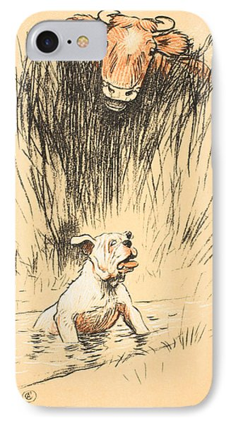 Bull And Dog In Field IPhone Case