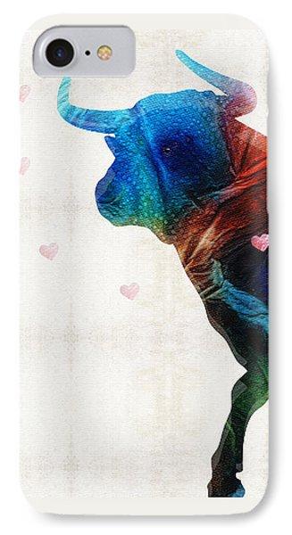 Bull Art - Love A Bull 2 - By Sharon Cummings IPhone Case by Sharon Cummings