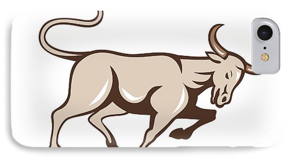 Bull Charging Side Cartoon Phone Case by Aloysius Patrimonio
