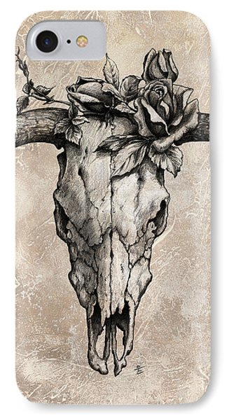 Bull Skull And Rose IPhone Case by Emerico Imre Toth
