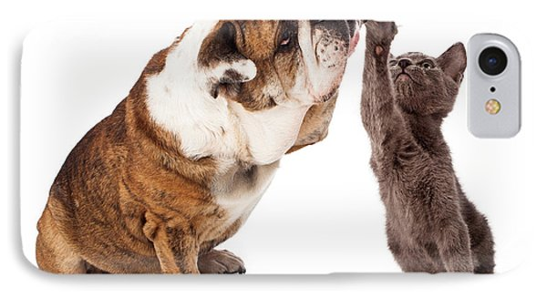Bulldog And Kitten High Five  IPhone Case