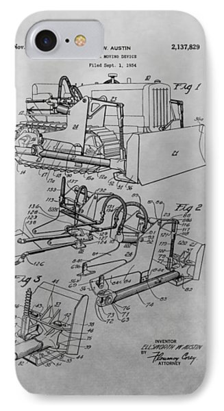 Bulldozer Patent Drawing IPhone Case by Dan Sproul
