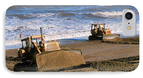 Bulldozers Rebuilding Beach IPhone Case by Ashley Cooper