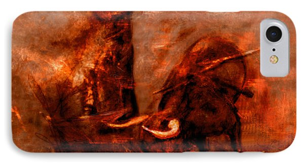 IPhone Case featuring the painting Bullfight by Kim Gauge